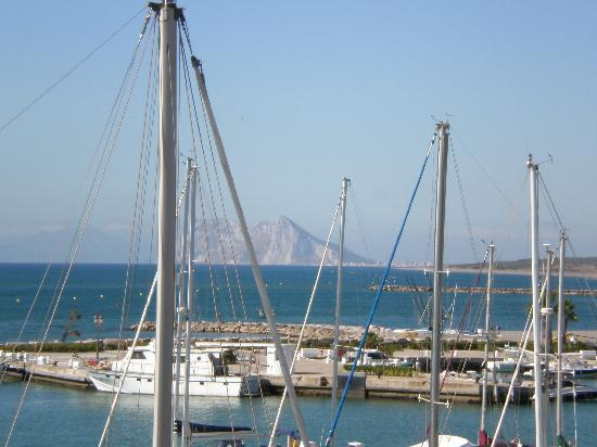 Club Maritimo de Sotogrande: View across the marina from hotel - in the background Gibraltar in the middle, Africa to the lef