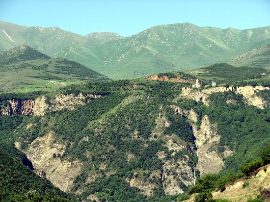 Tatev Monastery: looking at Tatev from a nearby hill