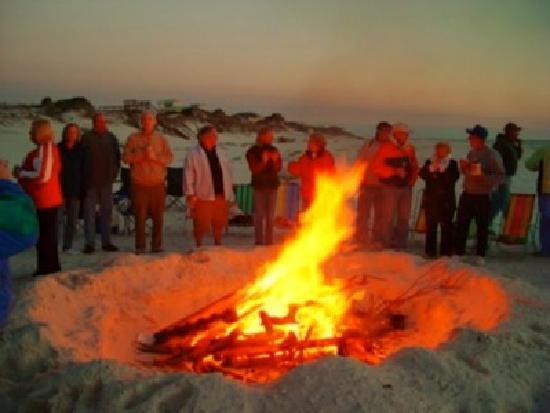 Cape San Blas: Snowbirds enjoying a potluck dinner and bonfire on the beach -- Winter 2008 at Barrier Dunes