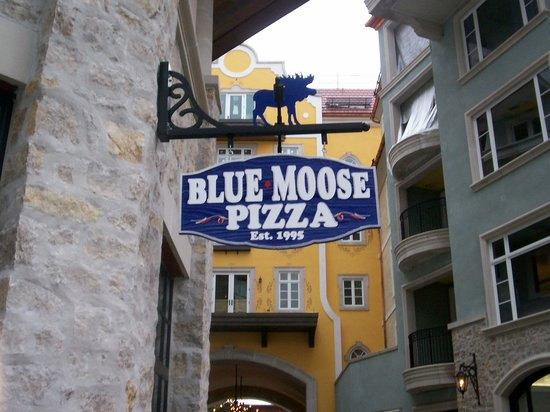 Blue Moose Pizza Vail: Blue Moose sign