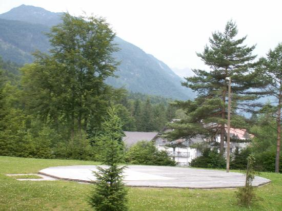 Hotel Bohinj : view from windows. The wood is used to cover the remains of an outside pool - no longer used