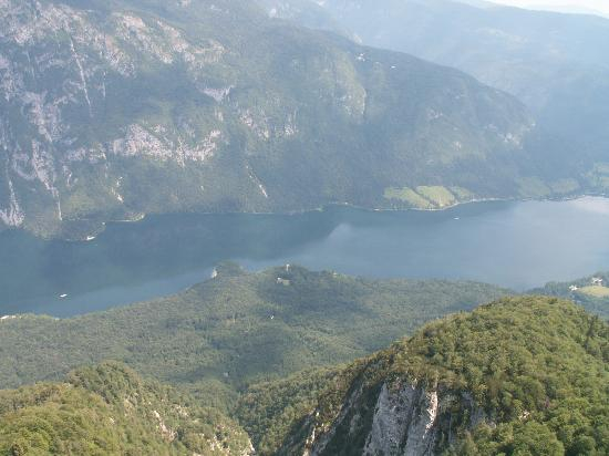 Bohinjsko Jezero, Slovenya: view from top of mountain looking down onto lake