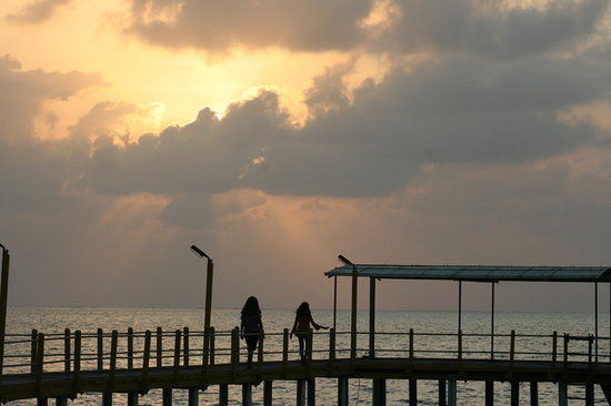 Lakshadweep, India: Sunset by the pier at the resorrt