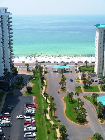 Straight view of beach from our 17th floor balcony