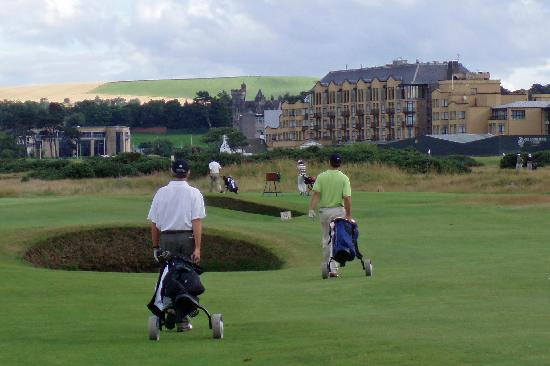New Course at St. Andrews Links: New Course with the Old Course Hotel in the background