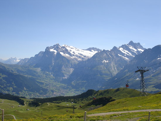 Bernese Oberland, Swiss: View from Mannlichen Bahn overlooking Grindelwald valley