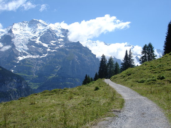 Bernese Oberland, İsviçre: Grutschalp to Murren footpath