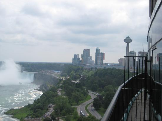 View From Hotel Room Of Downtown Niagara Falls And Canadian