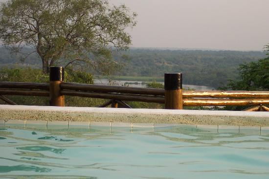 Uganda: view across from infinity pool at the 'nicer' Safari Lodge on the nile at Murchison Falls