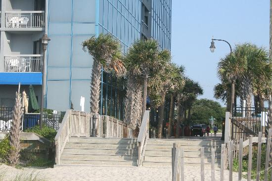 SeaGlass Tower: VIEW FROM BEACH OF SEAGLASS ENTRANCE