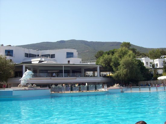 Litera Altinel Hotel: Pool side bar & above Resturant