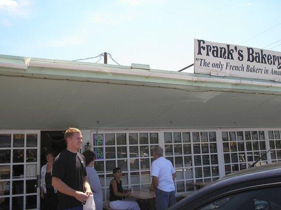 Derek in front of Frank's Bakery 8-08