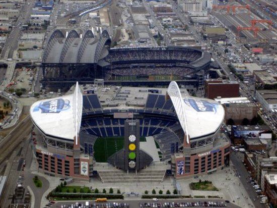 Sky View Observatory : This is Qwest field (where the Seahawks play), and Safeco field, (where the Mariners play).