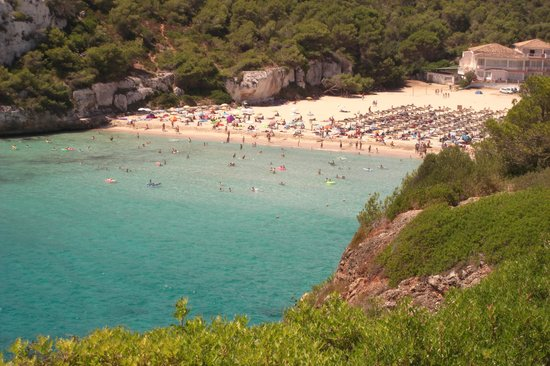 Cala Mandia, Spain: Local beach viewed from just outside the hotel grounds