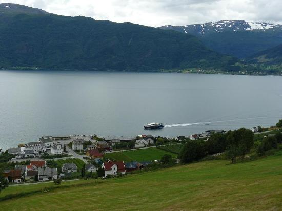 view across Leikanger (hotel is next to warf)