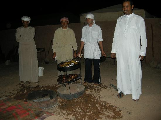Al Zawaideh Desert Camp at Wadi Rum: Revealing the meal which has been slow cooked in the gound.