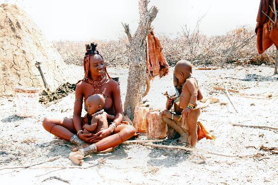 Lodge at Otjitotongwe Cheetah Park : Himba woman and kids
