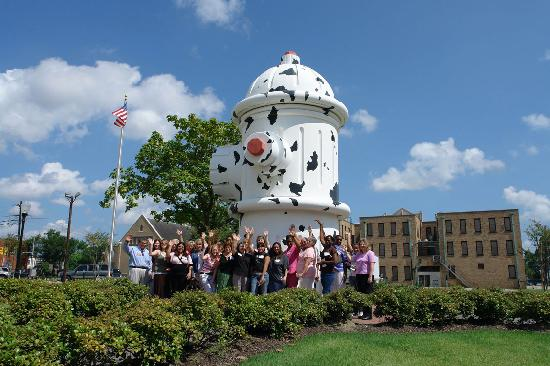 Fire Museum of Texas: A group in front of the HUGE fire hydrant!