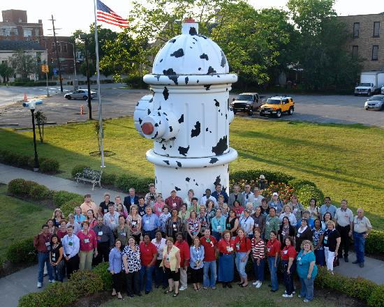 Fire Museum of Texas: Texas Travel Counselors in front of the fire hydrant