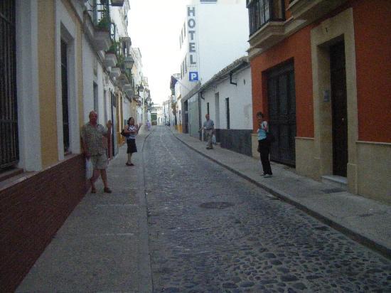 Hotel La Albarizuela: Narrow access street, hotel on R