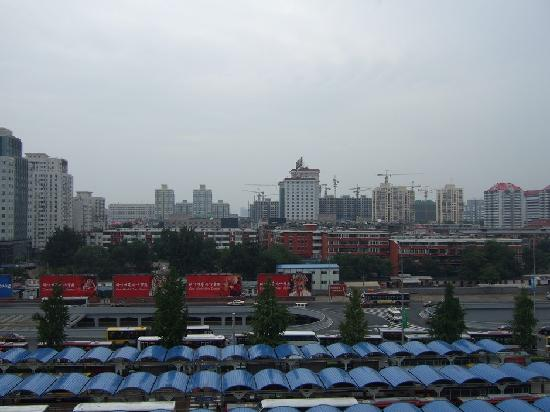 Beijing Railway Hotel : View from my room looking towards the other railway hotel. Bus terminal below