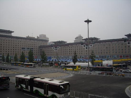 Beijing Railway Hotel: Outside of the hotel. The main entrance is directly below the middle 4 white squares.