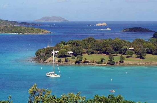 U.S. Virgin Islands: View of Caneel Bay from Annaberg Ruins