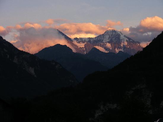Jungfrau at sunset viewed from Camping Hobby
