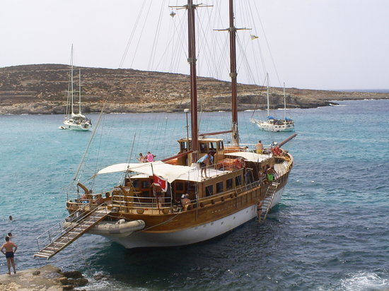 Comino, Malta: moored for the afternoon in the lagoon