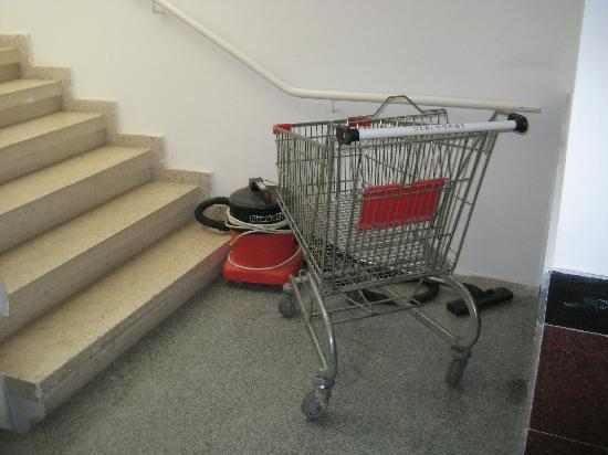 Nereus Hotel: A random shopping trolley in one of the stairwells