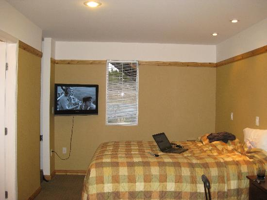 Elizabeth Lake Lodge: Bed/Tv/Little Window w dimmer lights overhead