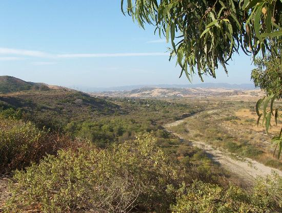 San Mateo Campground: Looking back at San Mateo Campground & Camp Pendleton from the trail to Trestles