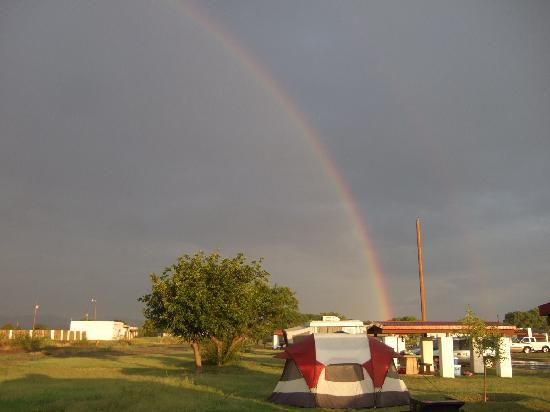 Balmorhea State Park: Rainbow over the campsites.