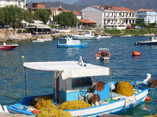 Samos Town, Greece: View across harbour to hotel