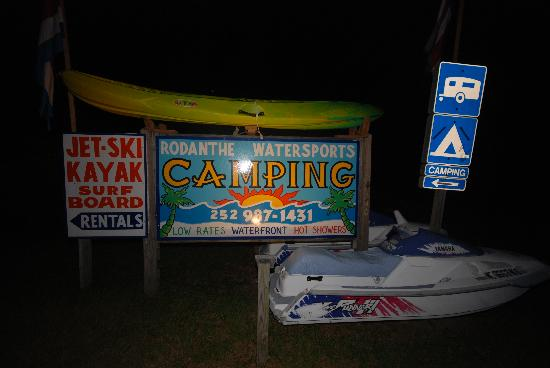 Rodanthe Watersports and Campground: The camping sign at night!