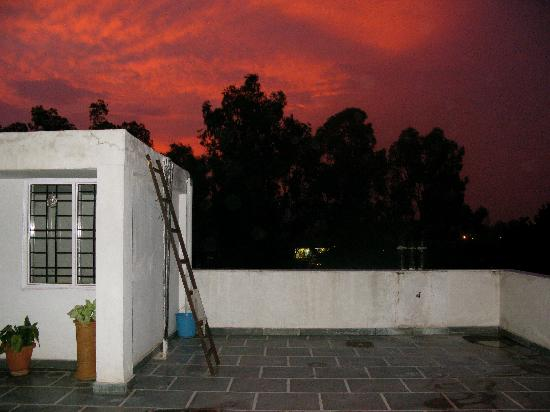 K One One: The rooftop terrace at sunset.