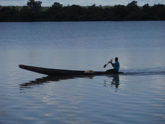 Gambia: Pescador en el rio