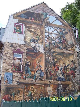 Quebec City, Canada: Petit-Champlain Mural depicts the history of the Quartier Petit Champlain.