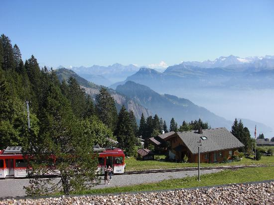Hotel Edelweiss: Rigi Bahn stops in front of the hotel