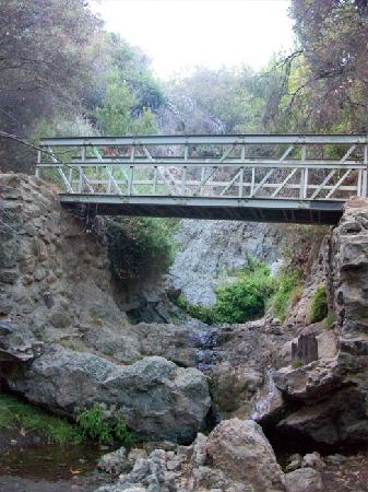 Temescal Gateway Park: Bridge crossing over creek, between two non-flowing waterfalls