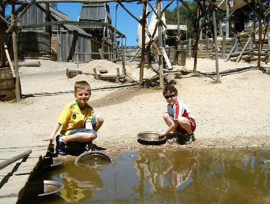 Sovereign Hill: OUr boys loved panning for the real grains of gold still to be found in the stream