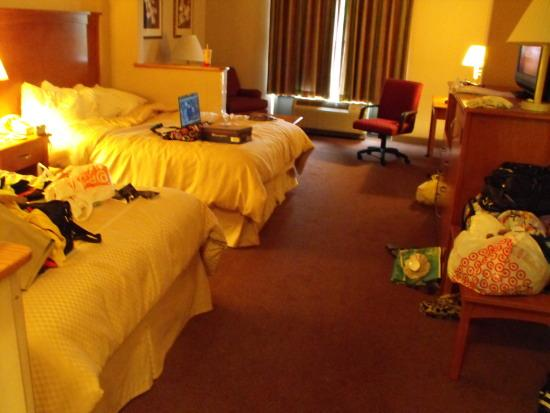 Comfort Suites: bed area with lots of shopping bags