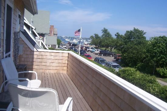 Safe Harbor Guest House: View of harbor from Southwind's large deck