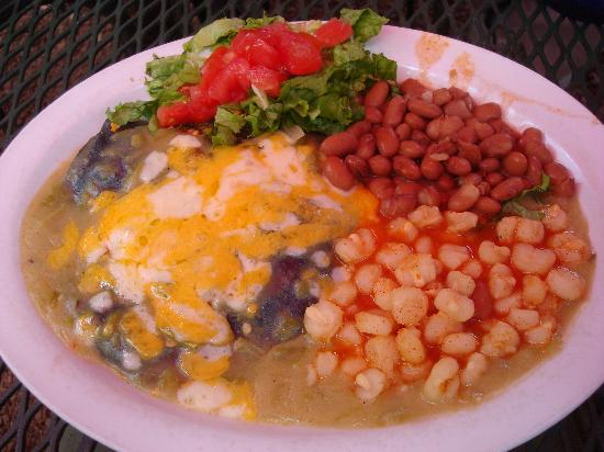 Orlando's New Mexican Cafe: Chicken enchiladas with blue corn tortilla, posole, beans