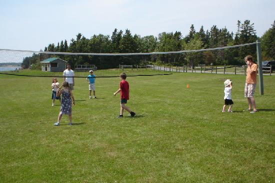 Playing volleyball at Northumberland Provincial Park