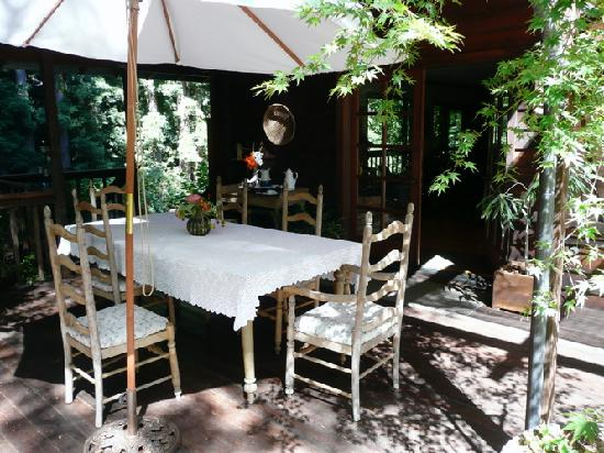 The breakfast table, centerpiece of the Redwood Croft.