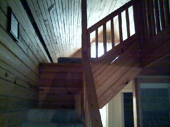Bird's Nest Lodge and River Resort: Inside the cablin these stairs lead to the loft with 4 beds upstairds