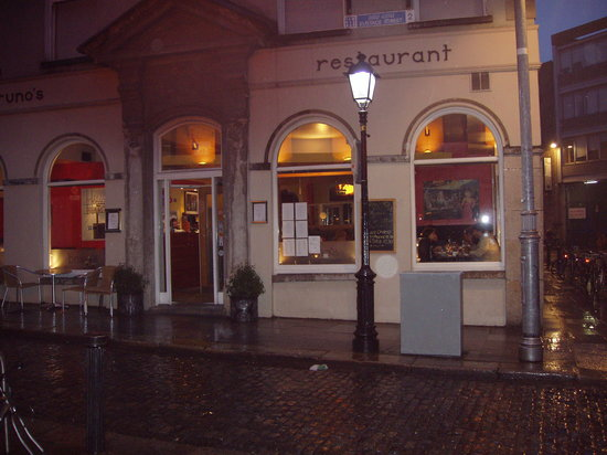 Bruno's.  Rainy Dublin - but pleasant seafood at the restaurant.