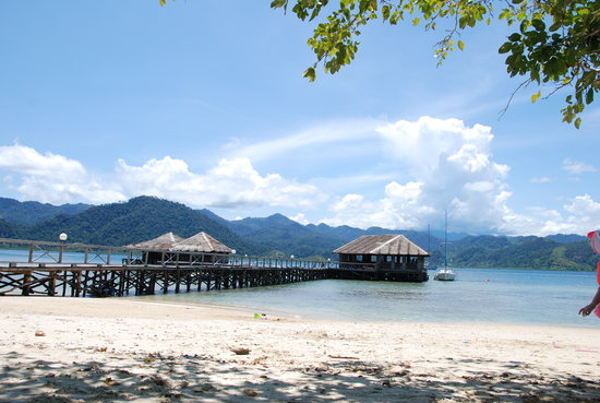 Paradiso Village: The jetty with the bar/lounch on right (owners live on the left)