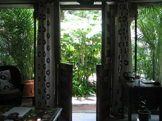 La Casa De Los Espiritus Alegres: Inside our room looking out, the Raj